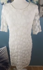 Alfani White Poka Dot Dress Size M